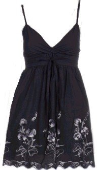 Black Floral Embroidery Front Tie Top Medium