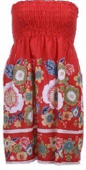 Red Print Smocked Tube Top Large