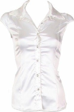 White Satin Lace Back Short Sleeves Top Small