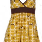 Mustard Brown Print Babydoll Top Small