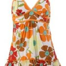 Couture Orange Floral Print Top Large