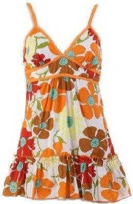Couture Orange Floral Print Top Large