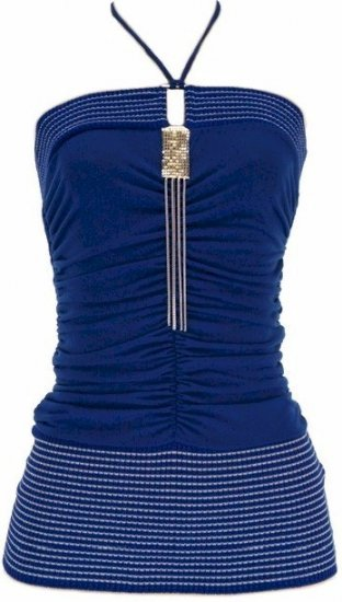 Blue Silver Chain Halter Top Large