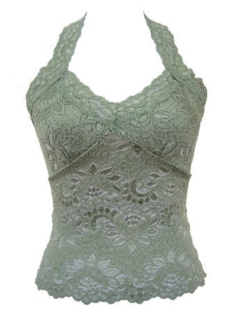 Classic Green Lace Halter Top Large