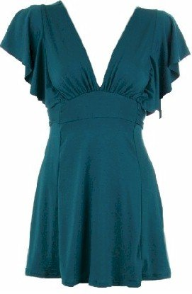 Teal Deep V-Neck Tie Back Top Small