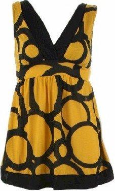 Zelda Yellow Sleeveless Tie Back Top Large