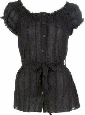 Black Short Sleeves Peasant Top Medium