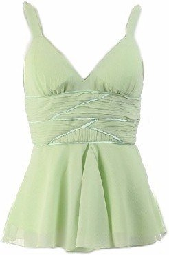 Lime Chiffon Empire Waist Twisted Straps Top Small