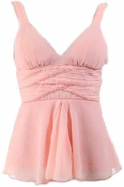 Pink Chiffon Empire Waist Twisted Straps Top Large