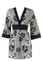 Black Floral Print Long Kimono Tie Back Top Medium