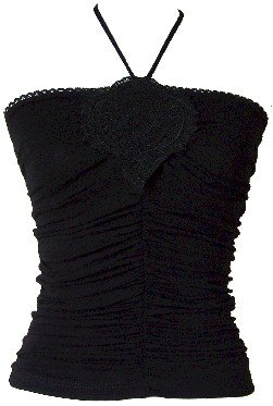 Black Embroidered Ruched Halter Top Small