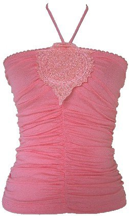Coral Embroidered Ruched Halter Top Large