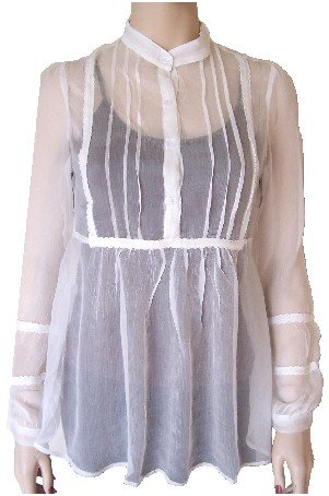 White Silk Sheer Long Button Top Medium