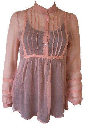 Coral Silk Sheer Long Button Top Small