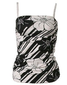 Black White Floral Print Ruched Top Blouse Large