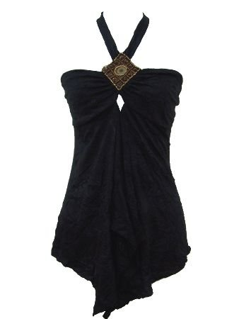 MandyII Black Crinkled Halter Top Blouse Small