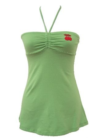 Green Casual Cherrry Halter Top Large