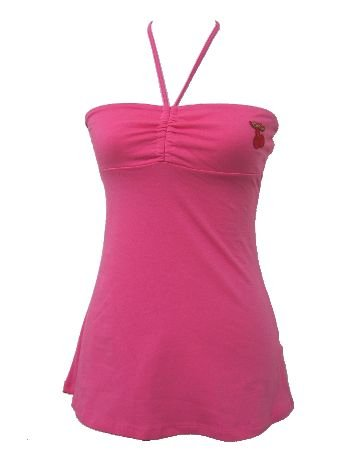 Pink Casual Cherrry Halter Top Large
