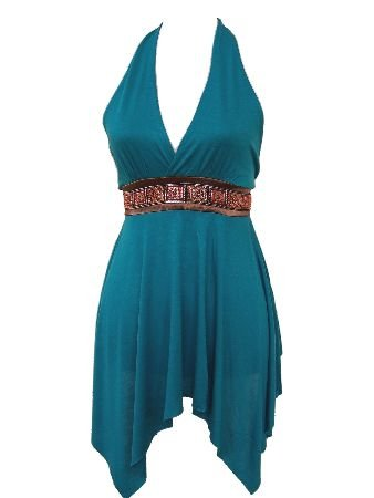 Blue Turquoise Ethnic Embroidered Satin Two Tie Halter Top Blouse Large