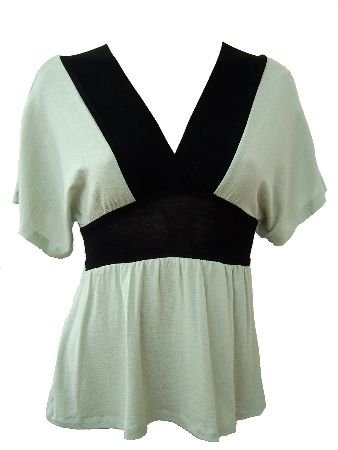 Green Black Color Block Deep V-Neck Top Blouse Small