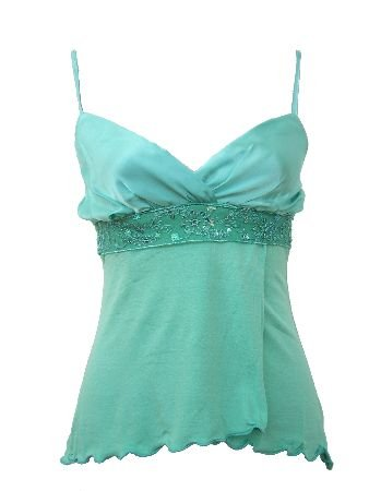 Cori Mint Satin Solid Tie Back Top Blouse Large