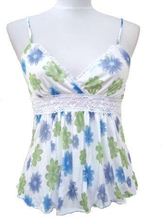 White Blue Rachel Floral Print Summer Top Small