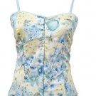 Blue Floral Print Corset Top Medium