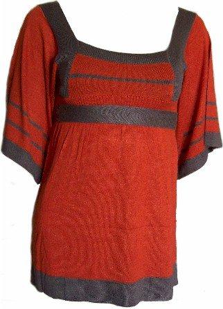 Rust/Brown Tie Back Knit Top Medium