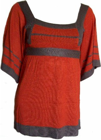 Rust/Brown Tie Back Knit Top Large