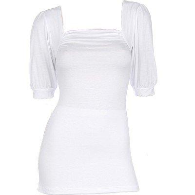 White Shirring Short Sleeves Top Large