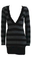Black Stripe Deep V-Neck Long Sleeve Sweater Large