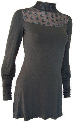 Olive Victorian Turtleneck Top Small
