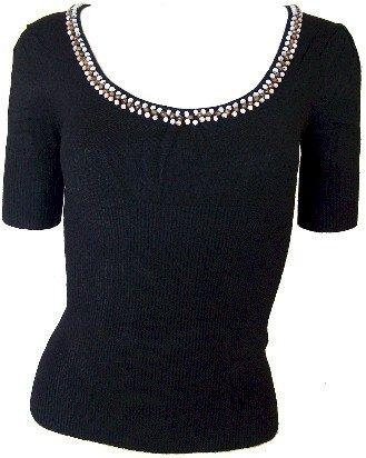 Black Beaded Sweetheart Knit Top Medium