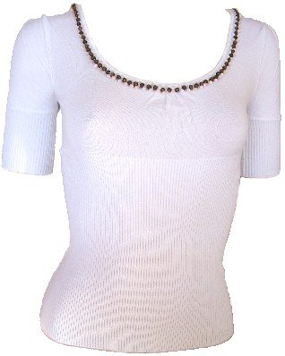 White Beaded Sweetheart Knit Top Large