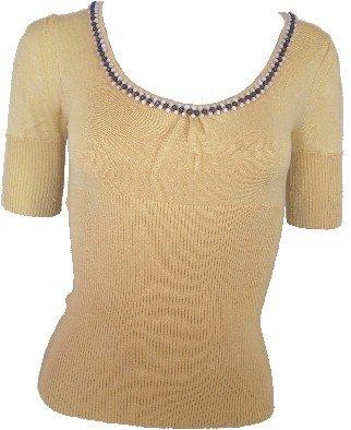 Mustard Beaded Sweetheart Knit Top Medium