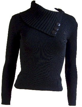 Black Flap Over Button Sweater Small