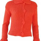 Elizabeth Orange Button Sweater Medium