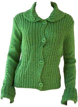 Elizabeth Green Button Sweater Small