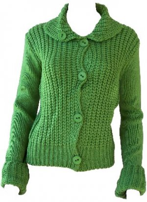 Elizabeth Green Button Sweater Large