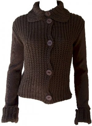Elizabeth Brown Button Sweater Large