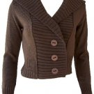 Brown Button Hoodie Sweater Medium