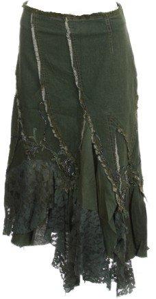 Olive Beaded Lace Denim Skirt Medium