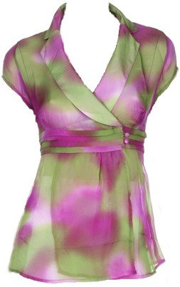 Green Multi Color Tie Dye Chiffon Top Medium