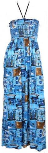 Blue Print Smocked Maxi Halter Dress Women's Juniors Plus Size Small