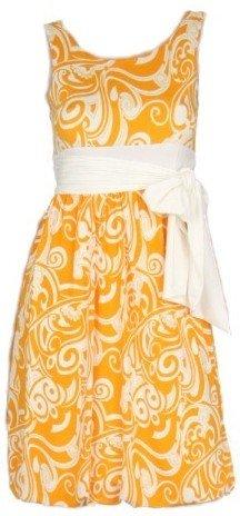 Orange Print Sleeveless Tie Dress Large