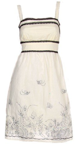 Ivory Black Trim Embroidered Tie Back Dress Women's Juniors Plus Size Large