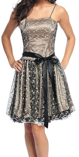 Black Victorian Lace Cocktail or Special Occasion Dress Large