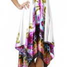 White Multicolor Hankerchief Style Satin Halter Dress Large