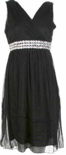 Black Soft Chiffon Empire Waist Dress Large