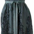 Teal Blue Floral Print Embellished Dress Medium
